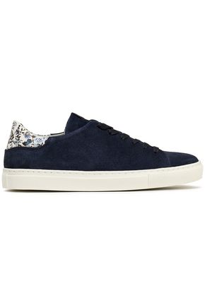 CLAUDIE PIERLOT Floral-print leather -trimmed suede sneakers