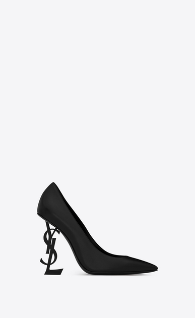 SAINT LAURENT YSL heels Woman OPYUM 110 pumps in black leather and matte black metal a_V4