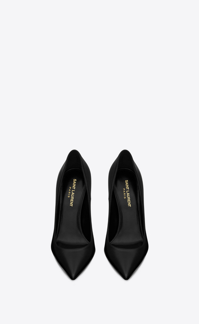 SAINT LAURENT YSL heels Woman OPYUM 110 pumps in black leather and matte black metal b_V4