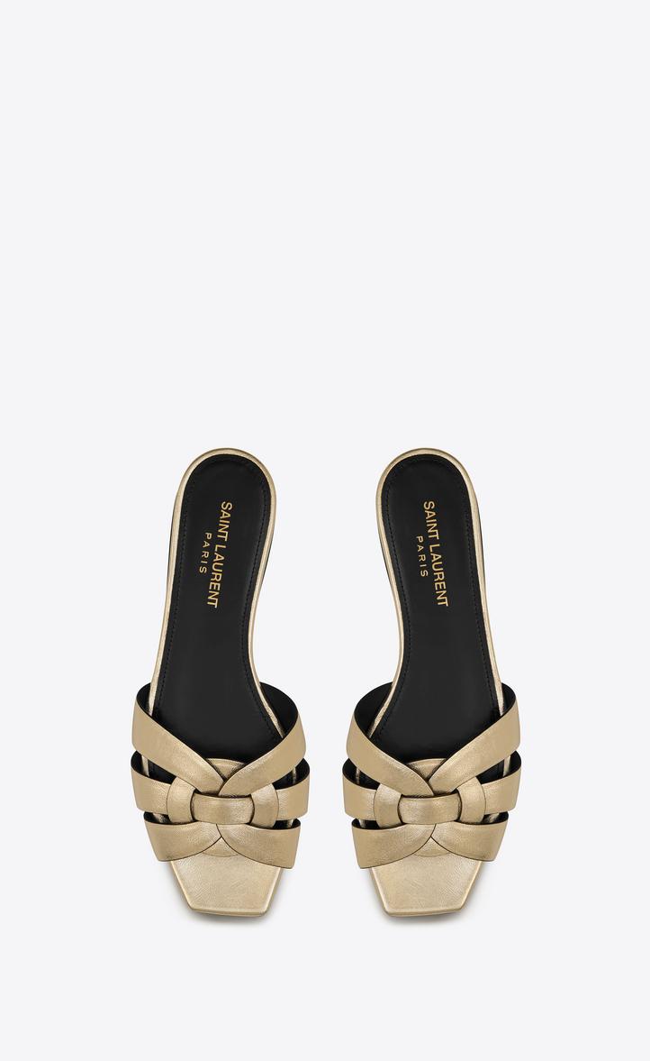 e214036a287 Saint Laurent Tribute Flat Sandal In Metallic Leather