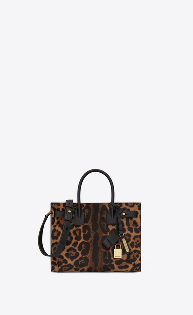 SAINT LAURENT Sac De Jour Supple Woman Baby SOFT SAC DU JOUR in calfskin with brown and black leopard print a_V4