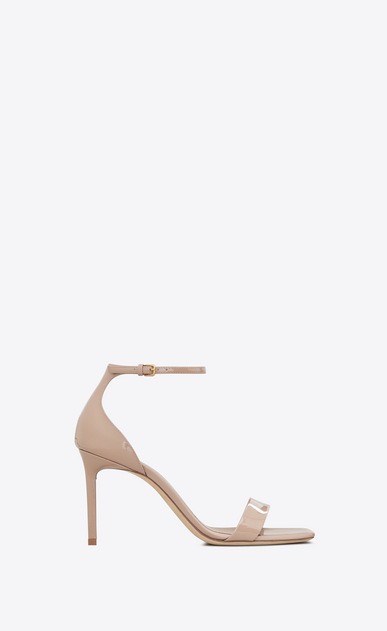 SAINT LAURENT Amber Woman amber 85 sandals in beige rosé patent leather a_V4