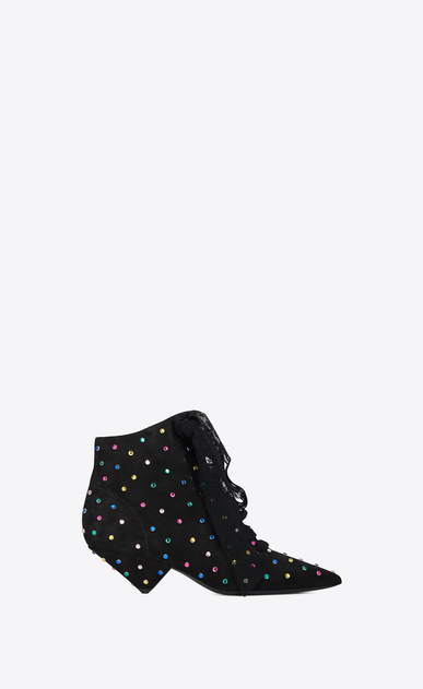 SAINT LAURENT Bottines à Talon Femme Bottine BLAZE 45 en suède noir et cristaux multicolores a_V4
