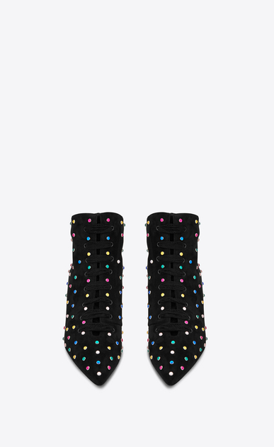 SAINT LAURENT Bottines à Talon Femme Bottine BLAZE 45 en suède noir et cristaux multicolores b_V4