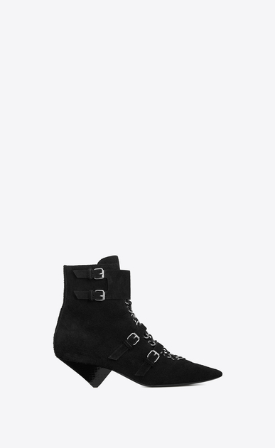 SAINT LAURENT Heel Booties Woman BLAZE 45 ankle boots in black suede and Ayers leather a_V4
