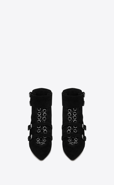 SAINT LAURENT Bottines à Talon Femme Bottine BLAZE 45 en suède et ayers noirs b_V4