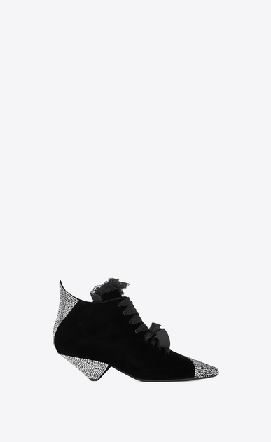 SAINT LAURENT Heel Booties Woman BLAZE 45 ankle boots in black velvet and white crystals a_V4