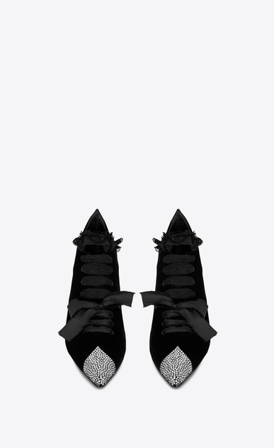 SAINT LAURENT Heel Booties Woman BLAZE 45 ankle boots in black velvet and white crystals b_V4