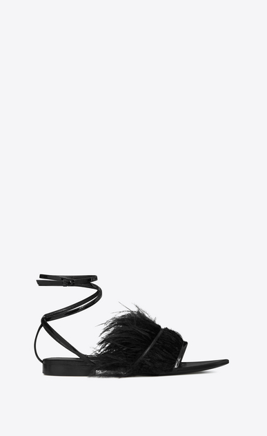 SAINT LAURENT Nu pieds Woman era 05 sandals with ostrich feathers in black patent leather a_V4