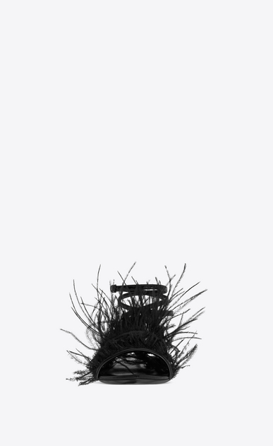 SAINT LAURENT Nu pieds Woman era 05 sandals with ostrich feathers in black patent leather b_V4