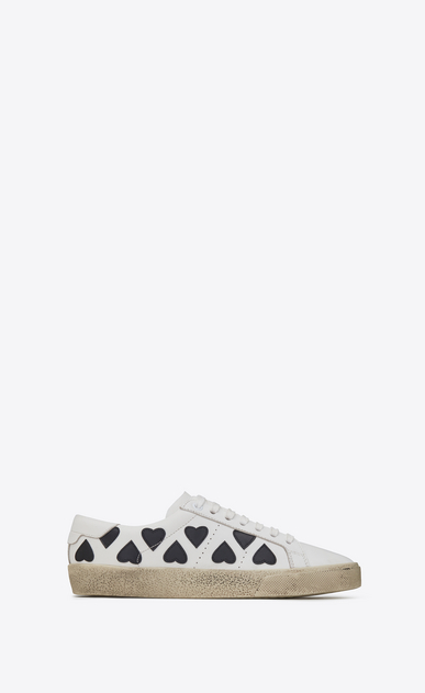 SAINT LAURENT Sneakers Woman court classic sl/01 lolita sneaker in white leather with heart-shaped patches a_V4