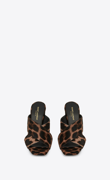 SAINT LAURENT Loulou Woman loulou 95 OPEN BACK SANDAL IN calfskin with brown and black leopard print b_V4