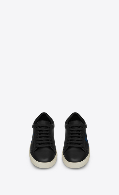 SAINT LAURENT SL/06 Woman COURT CLASSIC SL/06 sneaker in black leather and metallic blue embroidery b_V4
