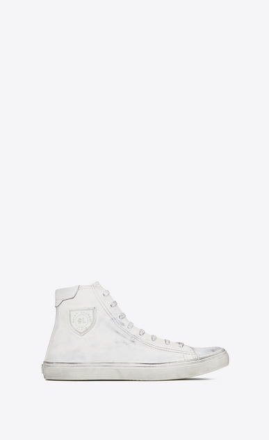 SAINT LAURENT Bedford Woman BEDFORD mid-top sneakers in white leather a_V4