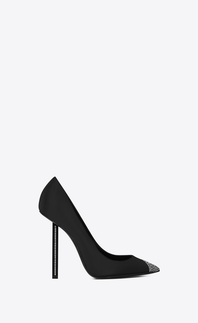 SAINT LAURENT Tower Damen TOWER 110 Pumps aus schwarzem Satin mit weißem Strass a_V4