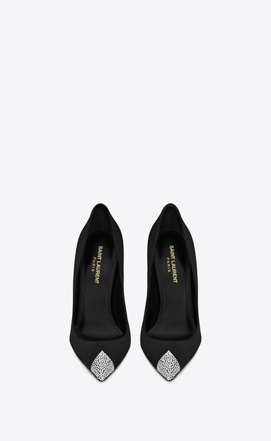 SAINT LAURENT Tower Damen TOWER 110 Pumps aus schwarzem Satin mit weißem Strass b_V4
