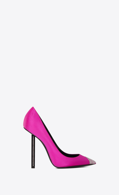 SAINT LAURENT Tower Woman TOWER 110 pumps in fuchsia satin and white crystals a_V4