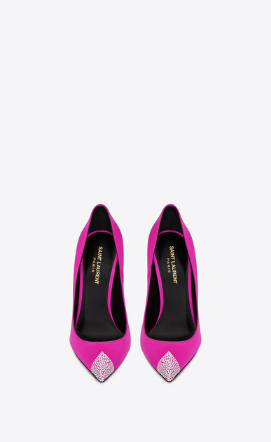 SAINT LAURENT Tower Damen TOWER 110 Pumps aus fuchsiafarbenem Satin mit weißem Strass b_V4