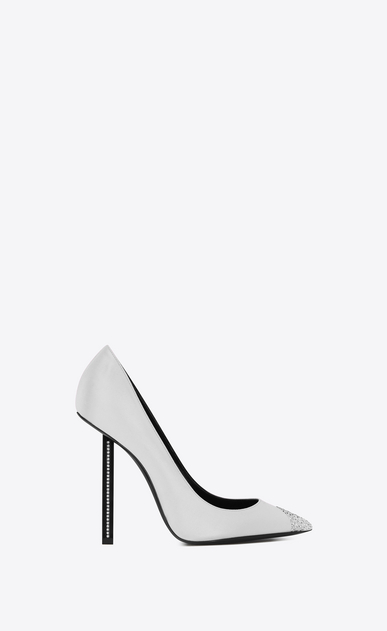 SAINT LAURENT Tower Woman TOWER 110 pumps in satin and white crystals a_V4