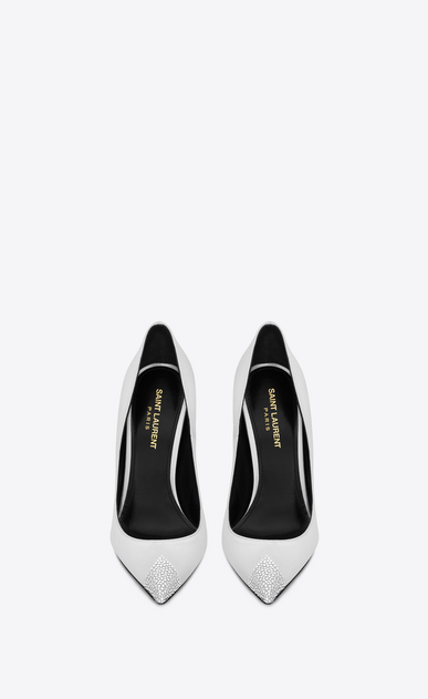 SAINT LAURENT Tower Damen TOWER 110 Pumps aus Satin mit weißem Strass b_V4