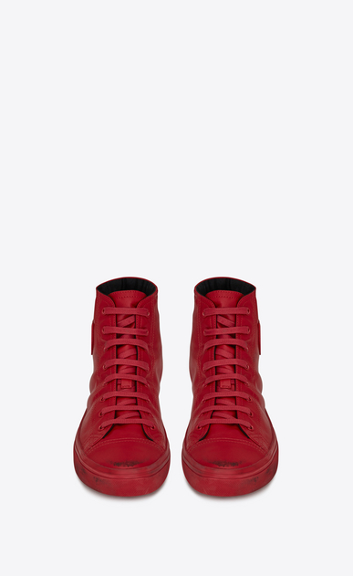 SAINT LAURENT Bedford Herren BEDFORD halbhohe Sneaker aus rotem Leder in Used-Optik b_V4
