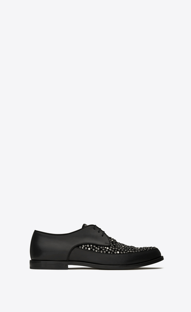 SAINT LAURENT Classic Shoes Man CHARLES 15 derbies in black leather and suede covered with crystals and black and white studs a_V4