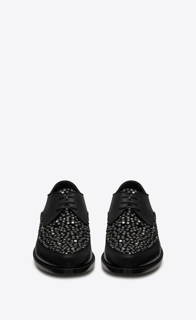 SAINT LAURENT Classic Shoes Man CHARLES 15 derbies in black leather and suede covered with crystals and black and white studs b_V4