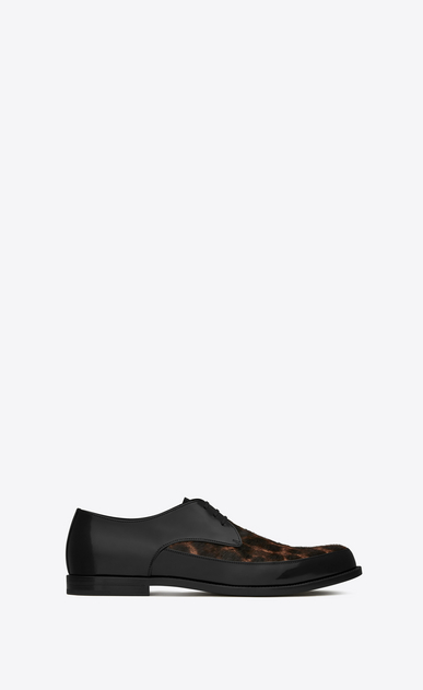 SAINT LAURENT Classic Shoes Man CHARLES 15 derbies in black leather and leopard print calfskin a_V4