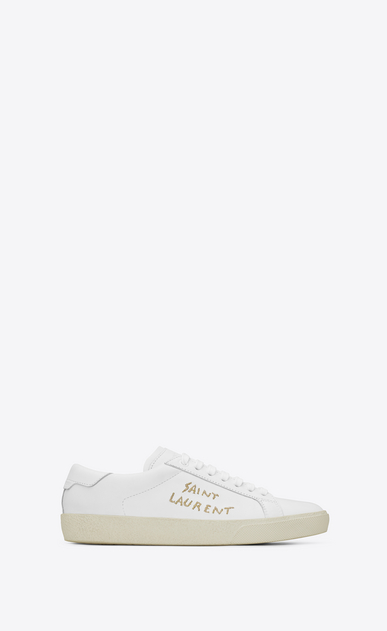 SAINT LAURENT SL/06 Man court sl/06 sneaker in optic white leather and gold embroidery a_V4