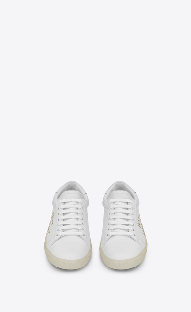 SAINT LAURENT SL/06 Man court sl/06 sneaker in optic white leather and gold embroidery b_V4