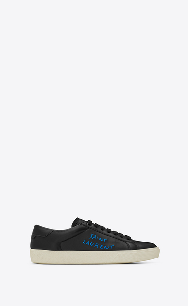 SAINT LAURENT SL/06 Man court sl/06 sneaker in black leather and metallic blue embroidery a_V4