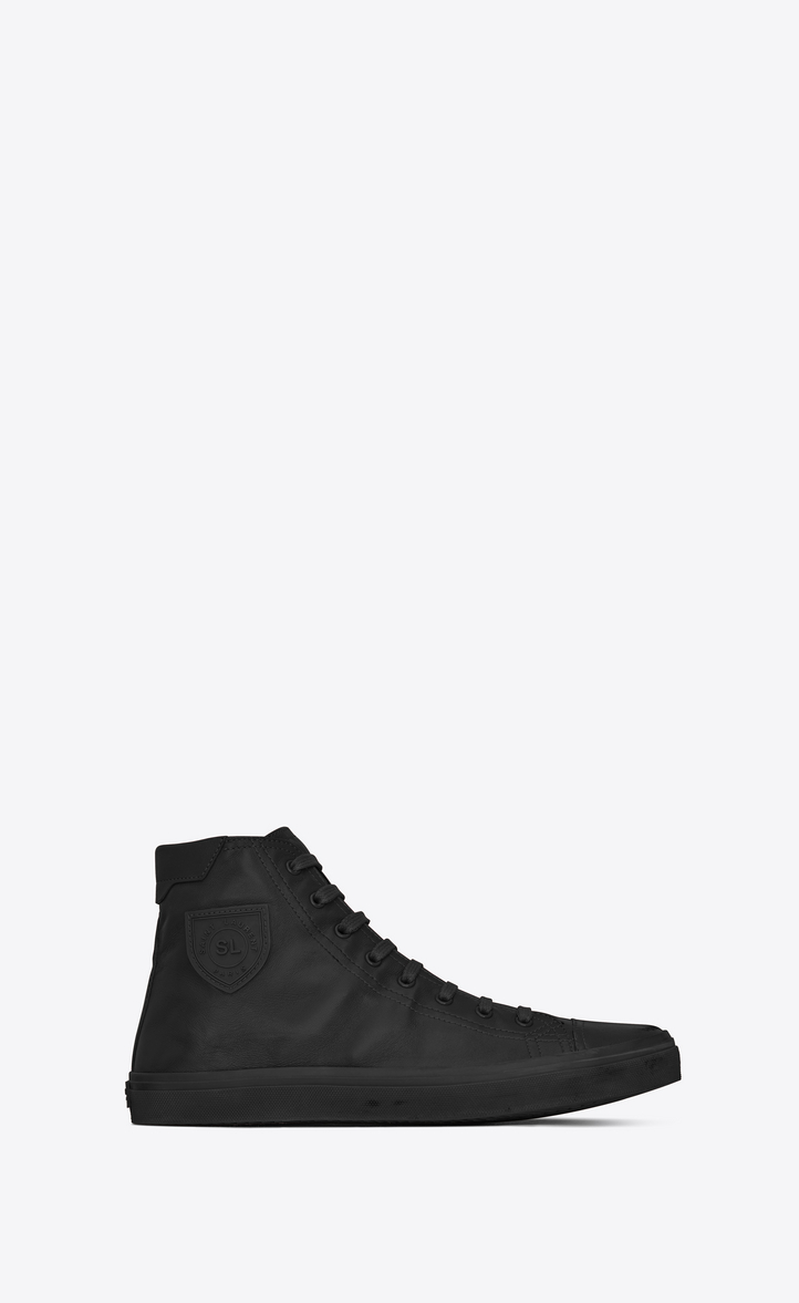 Bedford High-Top Leather Trainers in Black