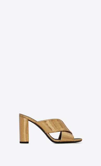 LOULOU 95 Crisscross Sandal in Bronze Metallic Leather