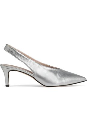 IRIS & INK Cassia metallic leather slingback pumps