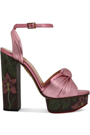CHARLOTTE OLYMPIA Knotted metallic leather platform sandals