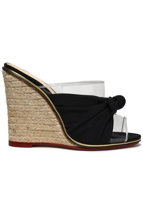 CHARLOTTE OLYMPIA Knotted suede and PVC espadrille wedge mules