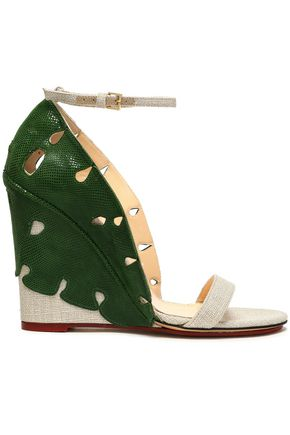 CHARLOTTE OLYMPIA Cutout snake-effect leather and canvas wedge sandals