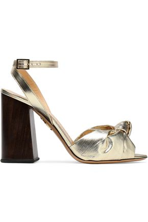 CHARLOTTE OLYMPIA Knotted lamé and metallic leather sandals