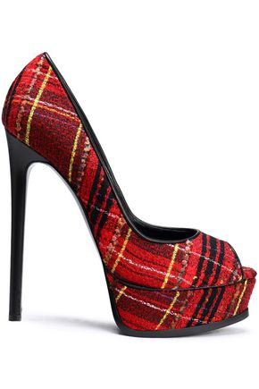 CASADEI Checked bouclé-tweed platform pumps