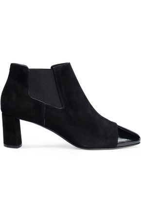 CASADEI Patent leather-trimmed suede ankle boots