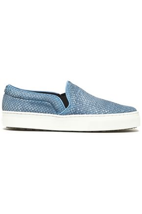 SCHUTZ Snake-effect leather slip-on sneakers