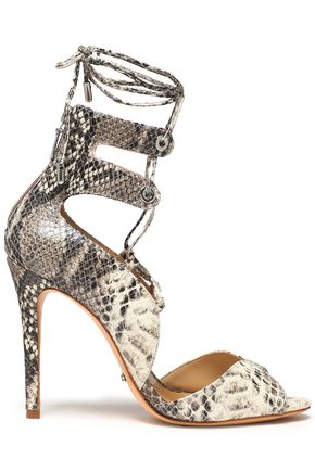 SCHUTZ Lace-up snake-effect leather sandals
