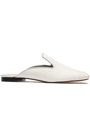 SCHUTZ Croc-effect leather slippers