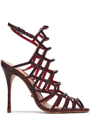 SCHUTZ Croc-effect leather sandals