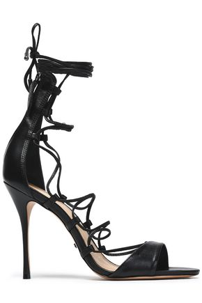 WOMAN LACE-UP LEATHER SANDALS BLACK