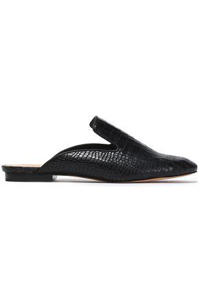 SCHUTZ Croc-effect leather slippers