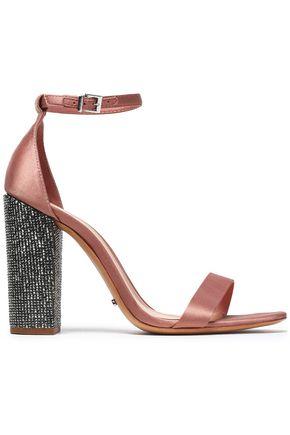 SCHUTZ Crystal-embellished satin sandals