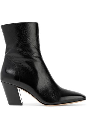 IRO Roszaria glossed textured-leather ankle boots