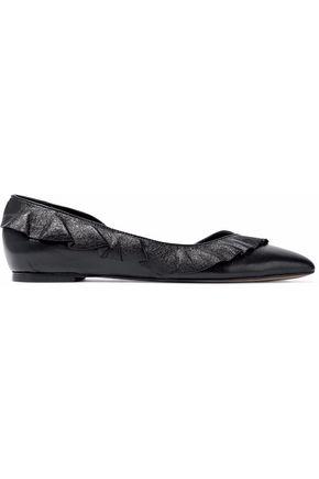IRO Ruffled metallic textured-leather point-toe flats