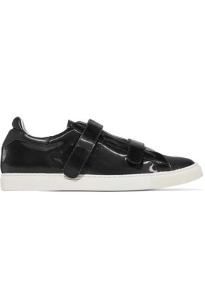 IRO Paneled smooth and sliced patent-leather sneakers